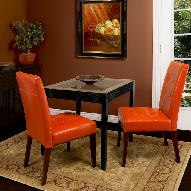 Highland Burnt Orange Leather Dining Chair Set of 2 Modern