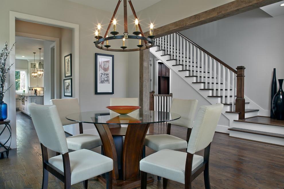 Mid-sized transitional dark wood floor dining room photo in Atlanta with gray walls