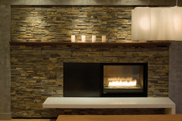 Hillside Fireplace Detail Modern Dining Room