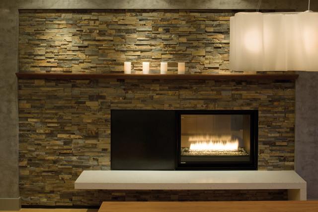 Hillside Fireplace Detail Modern Dining Room