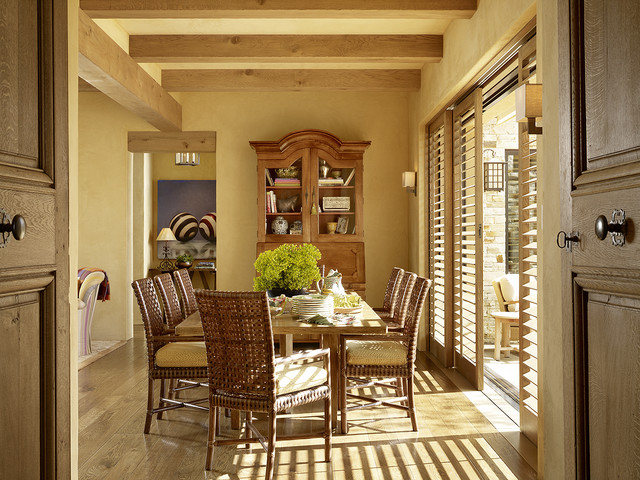 Inspiration For A Mediterranean Medium Tone Wood Floor Dining Room Remodel In San Francisco With Yellow