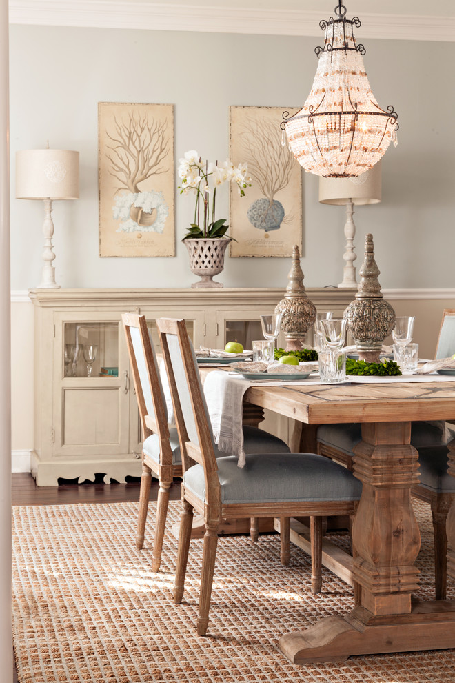 Dining room - mid-sized coastal dark wood floor dining room idea in Boston with beige walls and no fireplace