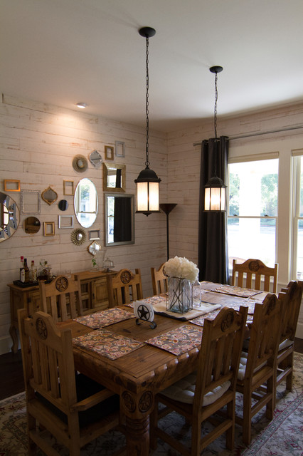 Design ideas for a medium sized rural enclosed dining room in Dallas with white walls and no fireplace.