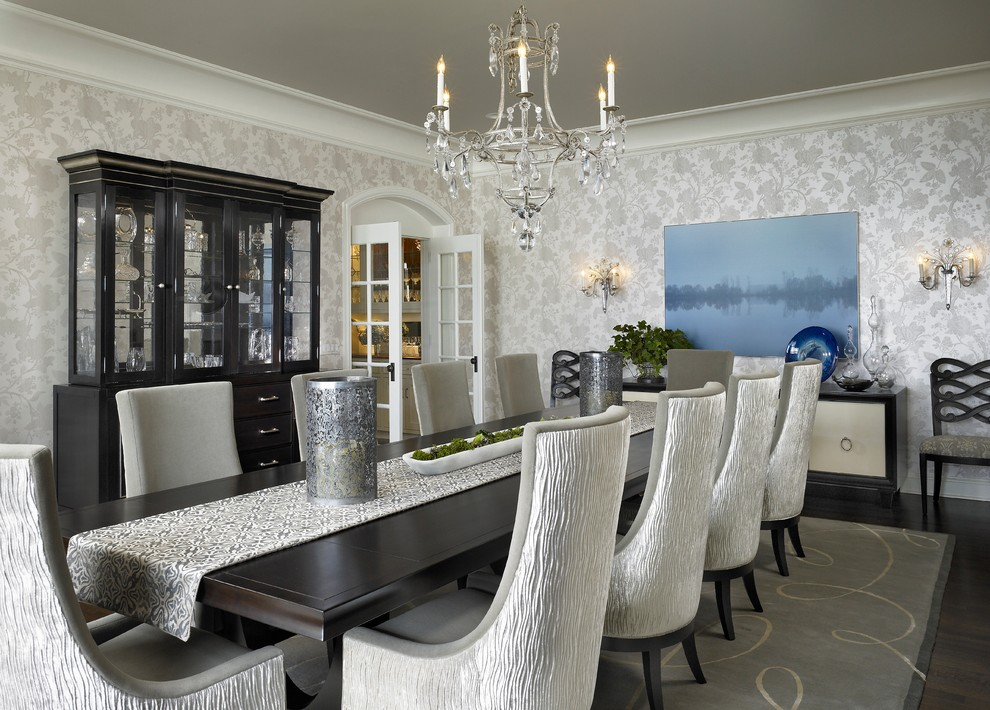 Inspiration for a transitional dark wood floor dining room remodel in Chicago