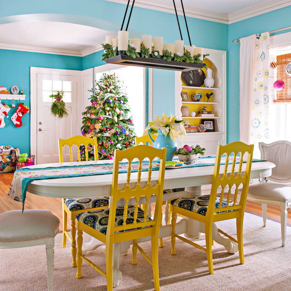 Holiday Bright Dining Room Eclectic