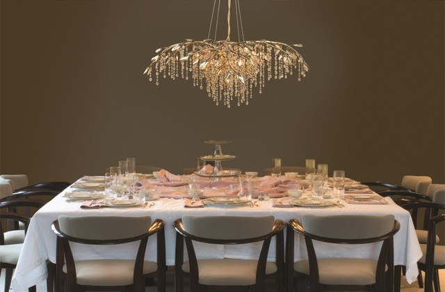 Marvelous Holiday Chandeliers Transitional Dining Room