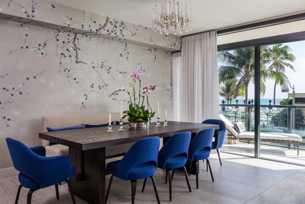 Inspiration for a large transitional porcelain tile and gray floor great room remodel in Miami with gray walls