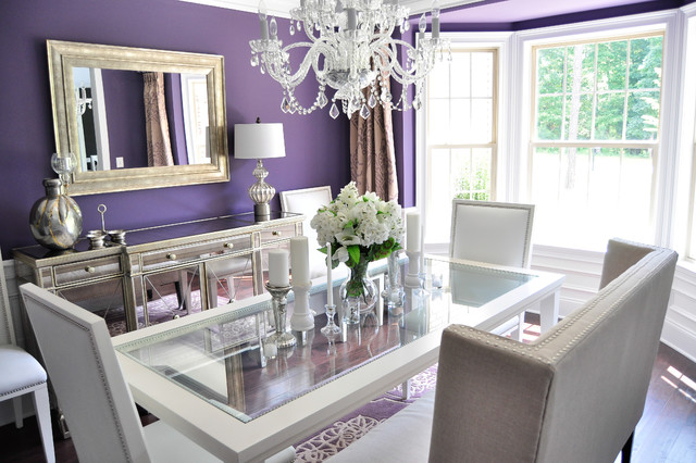 Contemporary Dark Wood Floor Dining Room Idea In Raleigh With Purple Walls