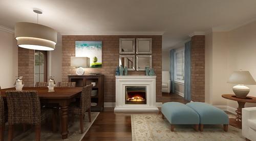 Awkward fireplace in brick wall - advice needed