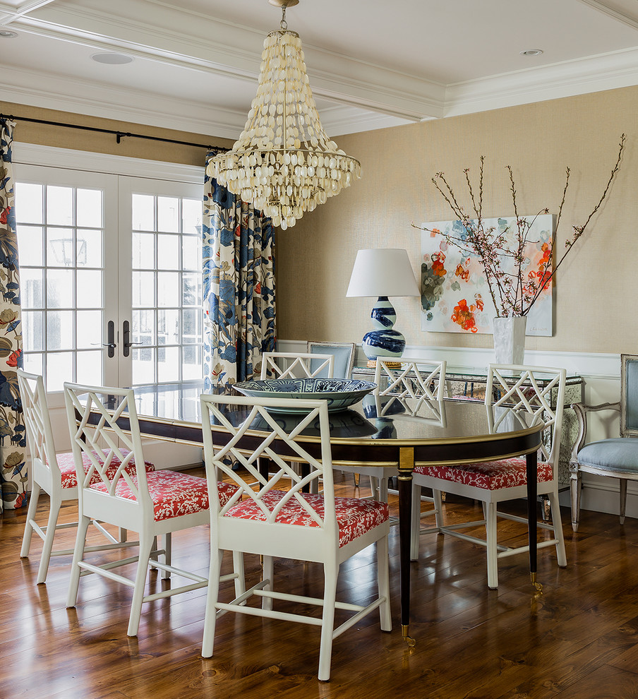 Example of a beach style dark wood floor dining room design in Boston with beige walls