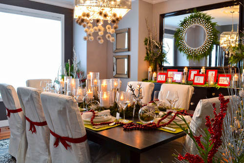 Many Small And Thoughtful Details Add Up To This Rather Eclectic Holiday Table By Edmonton Interior Designers Decorators The Red Ribbon Tied Around