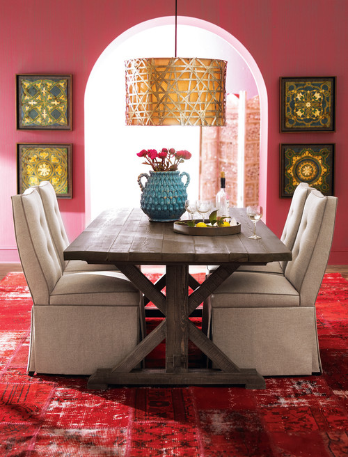 Color schemes pink panther pink summer white canary for Eclectic dining room designs