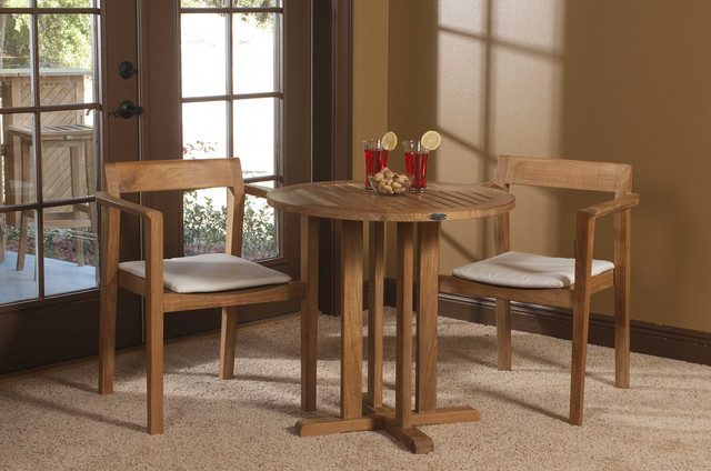Horizon 3 Pc Teak Bistro Set Contemporary Living Room Orange County B