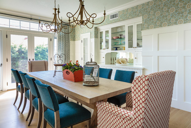 Inspiration for a large beach style light wood floor and brown floor kitchen/dining room combo remodel in Los Angeles with blue walls and no fireplace