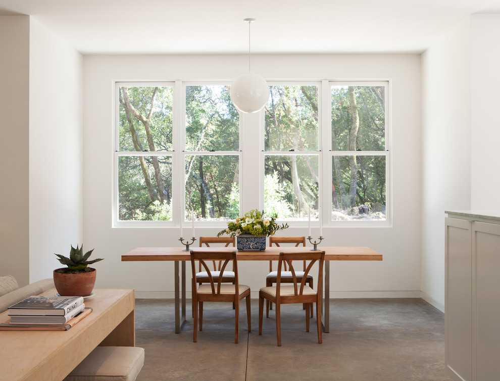 Transitional concrete floor dining room photo in San Francisco