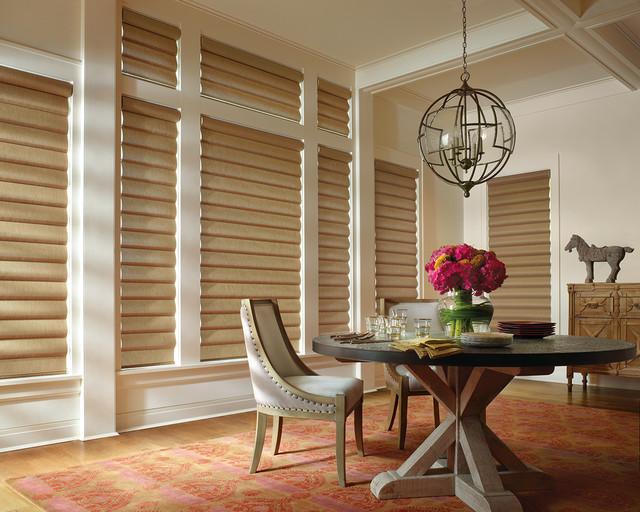 Hunter douglas window treatments contemporary dining for Modern dining room window treatments