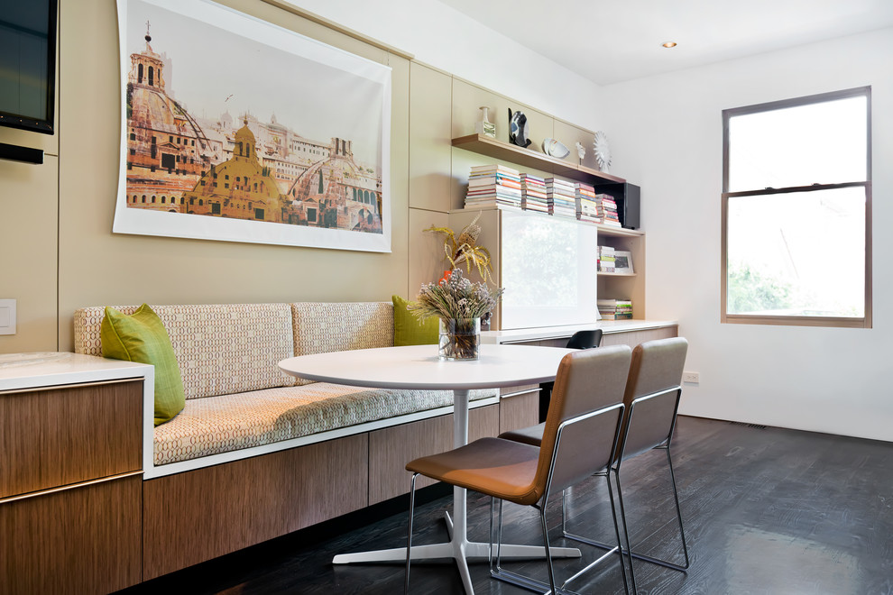 Kitchen/dining room combo - contemporary dark wood floor kitchen/dining room combo idea in Chicago with white walls and no fireplace