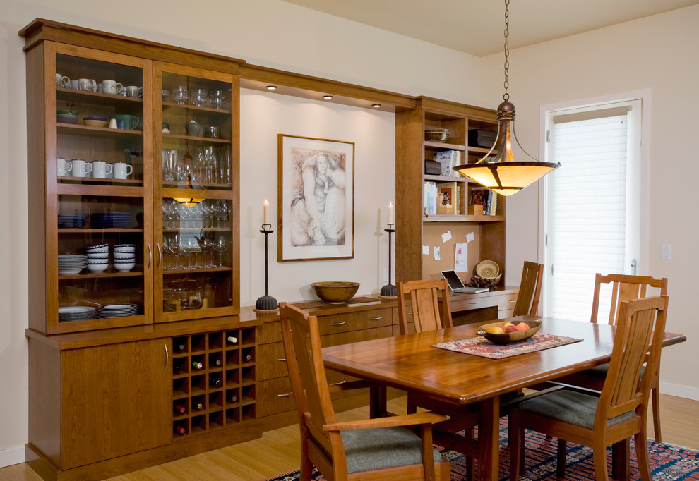 Dining room - traditional medium tone wood floor dining room idea in Portland with white walls