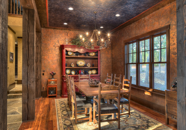 Indian lakes mountain lodge style rustic dining room for Dining room ideas rustic