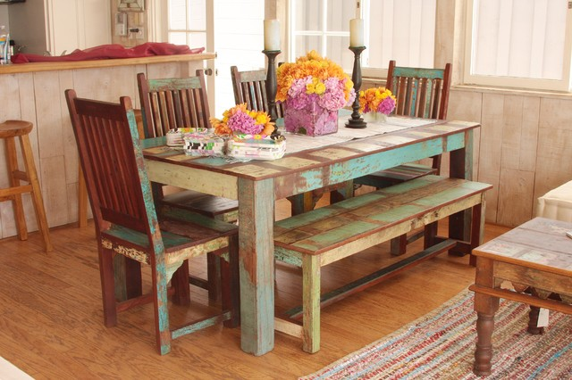 Indian reclaimed wood dining set mediterranean dining for Where to buy reclaimed wood los angeles