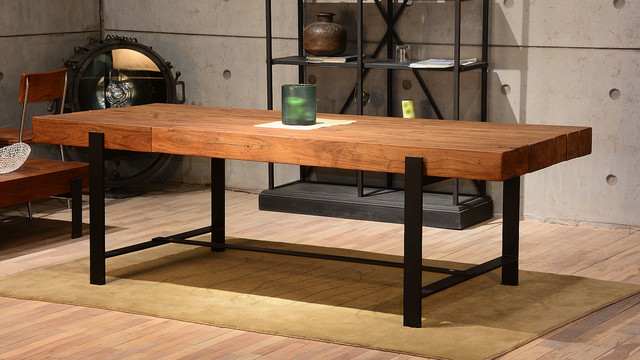 Modern Rustic Dining Rooms industrial & wood modern rustic dining table - industrial - dining