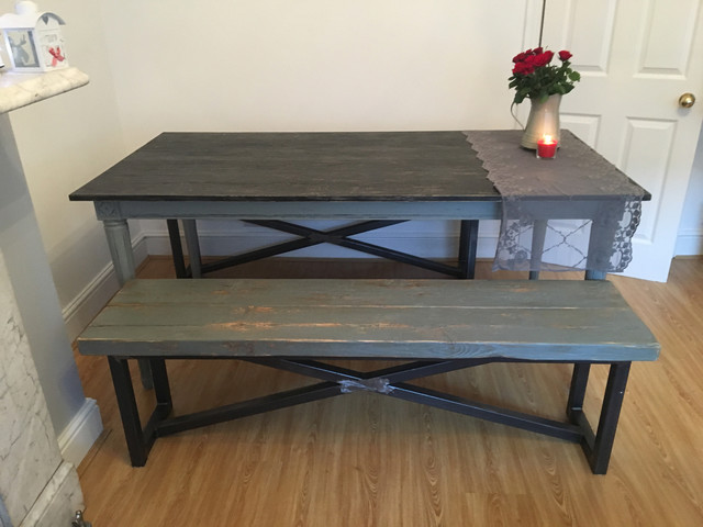 Industrial Mill Large Dining Table And Benches Industrial Dining Room