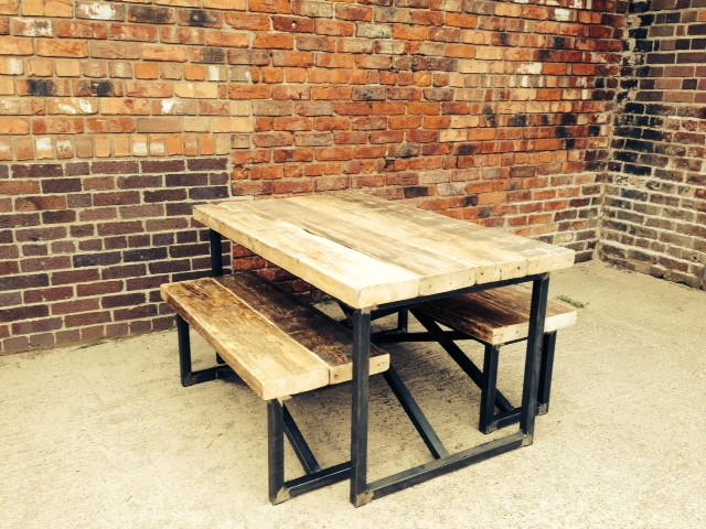 Industrial Mill Small Dining Table And Benches Industrial Dining