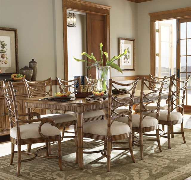 Ine Piece Boca Grande Rectangular Leg Table Sanibel Bent Rattan Chairs Set  Tropical. Tropical Dining Room Sets   Home Design Ideas