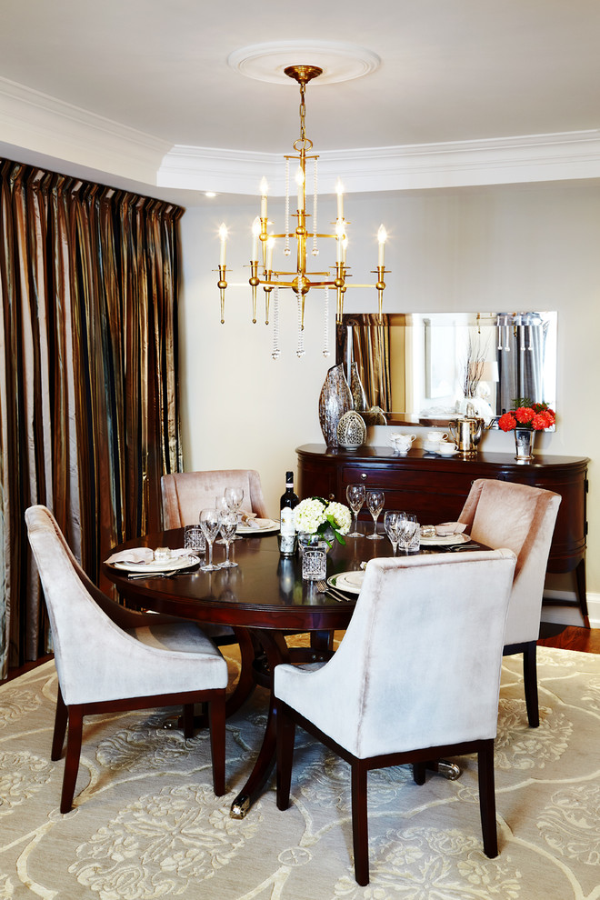 Dining room - traditional dining room idea in Toronto with gray walls