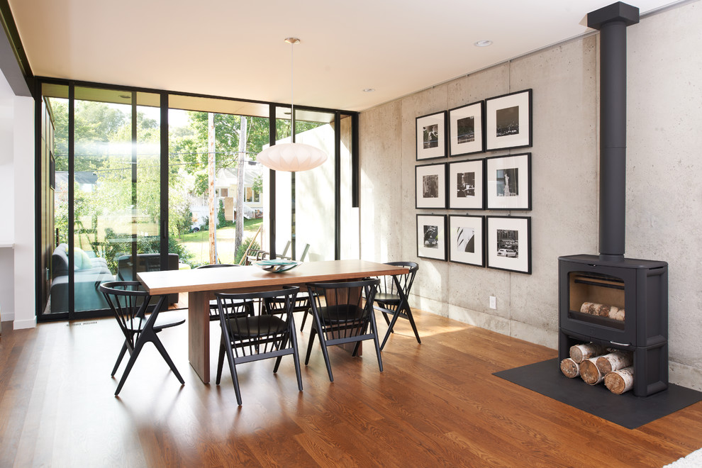 Example of a minimalist medium tone wood floor dining room design in Minneapolis with a wood stove
