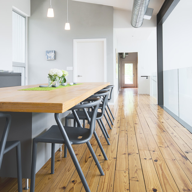 Intexure live work studio modern dining room houston - Grey wood floors modern interior design ...