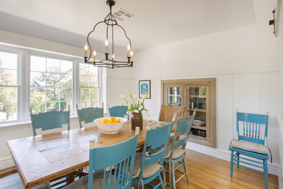 Inspiration for a country medium tone wood floor dining room remodel in Los Angeles with white walls