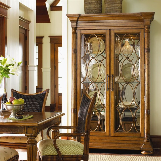 Island Estate Mariana Display Cabinet With Lighted Interior Tropical Dining Room