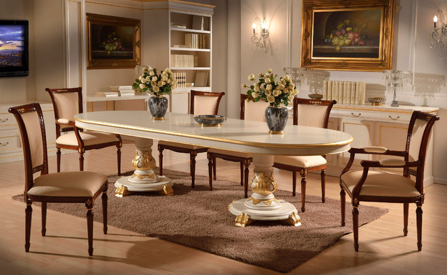 Italian lacquered dining set traditional dining room for Italian dining table