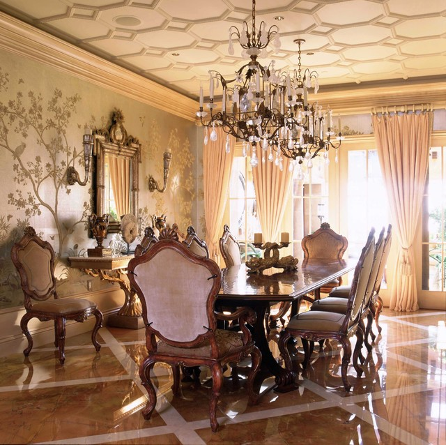 Italian style in newport coast california traditional for Traditional dining room wall decor