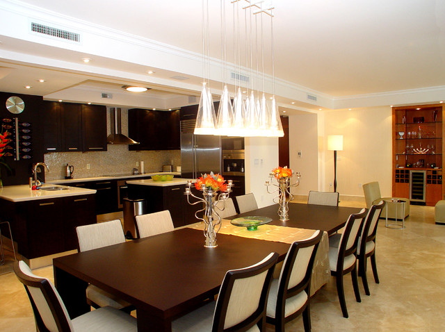 Wonderful Great Room   Large Modern Marble Floor And Beige Floor Great Room Idea In  Miami With
