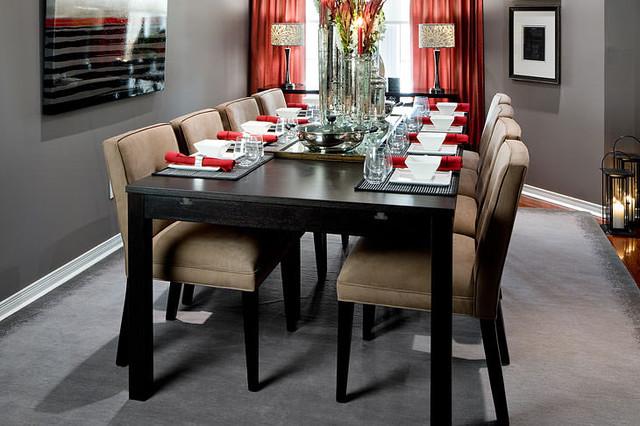 Jane lockhart gray red dining room modern dining room for Grey dining room design ideas