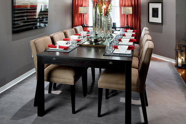 Jane lockhart gray red dining room modern dining room for Red dining room decorating ideas