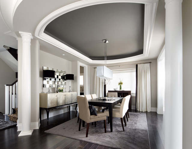 Inspiration For A Transitional Dark Wood Floor And Black Dining Room Remodel In Toronto With