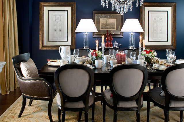 Jane Lockhart Navy Dining Room Traditional