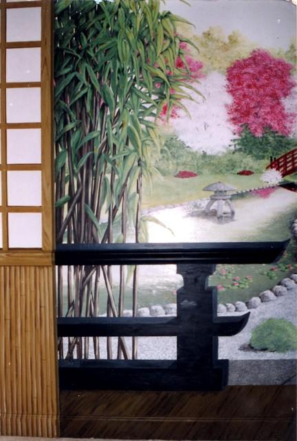 Japanese garden mural for Japanese garden room