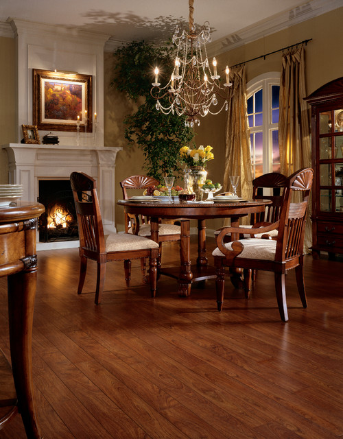 Jatoba laminate traditional dining room by floor decor for Dining room design questions