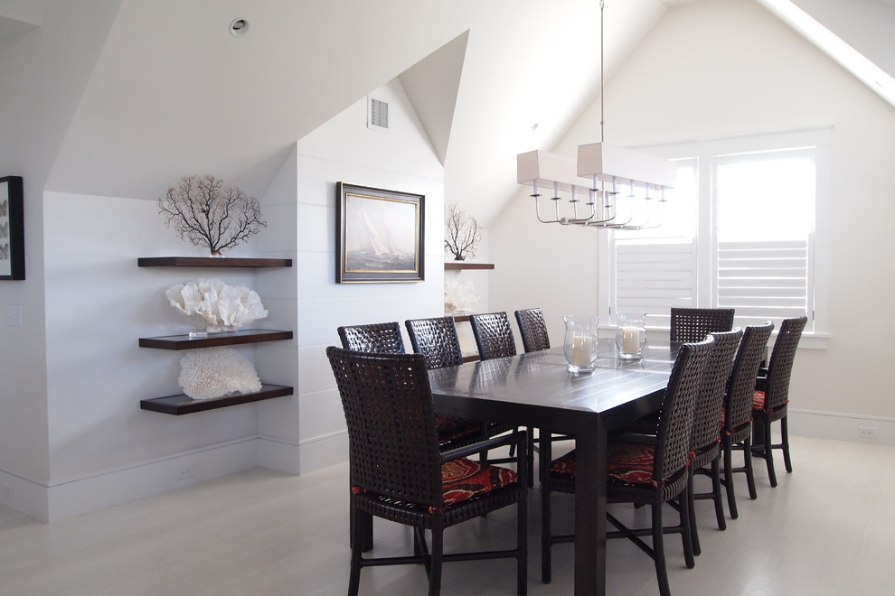 Inspiration for a large coastal light wood floor and beige floor enclosed dining room remodel in Boston with white walls and no fireplace