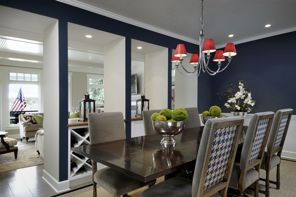 Inspiration for a contemporary enclosed dining room remodel in Seattle with blue walls