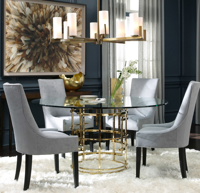 Jules Polished Brass Amp Glass Pedestal Table Modern