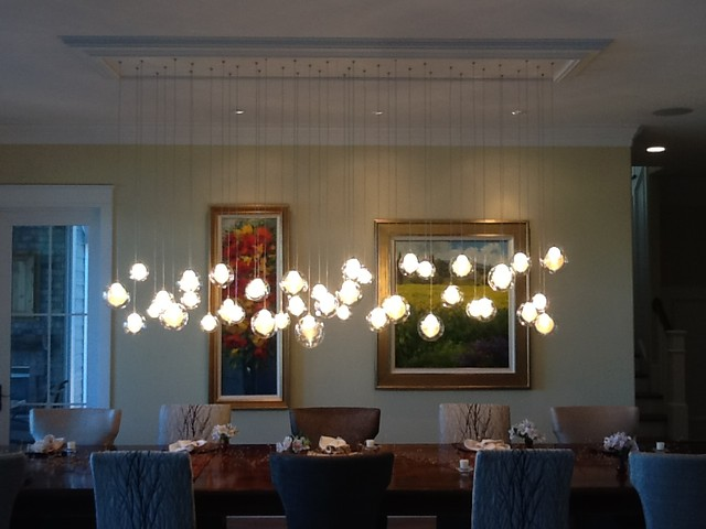 Kadur Chandelier Over Dining Room Table | Custom Blown Glass Chandelier |  Modern Contemporary Dining