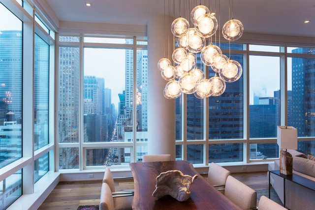 Kadur Custom Blown Glass Chandelier   Manhattan Loft Apartment Modern Dining  Room