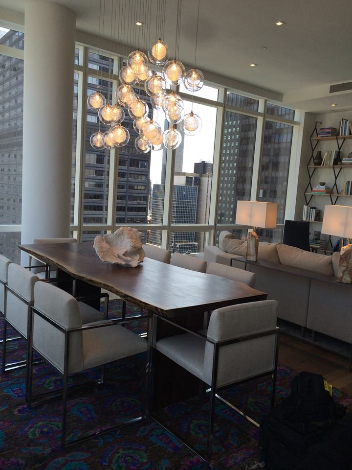 Example of a trendy dining room design in New York