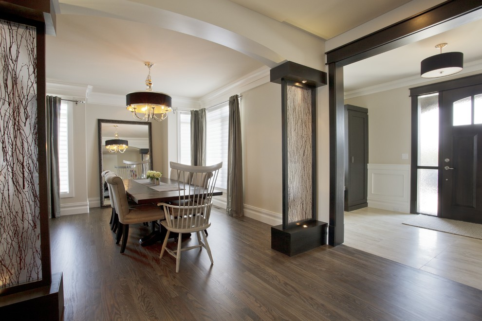 Transitional dark wood floor dining room photo in Calgary with beige walls