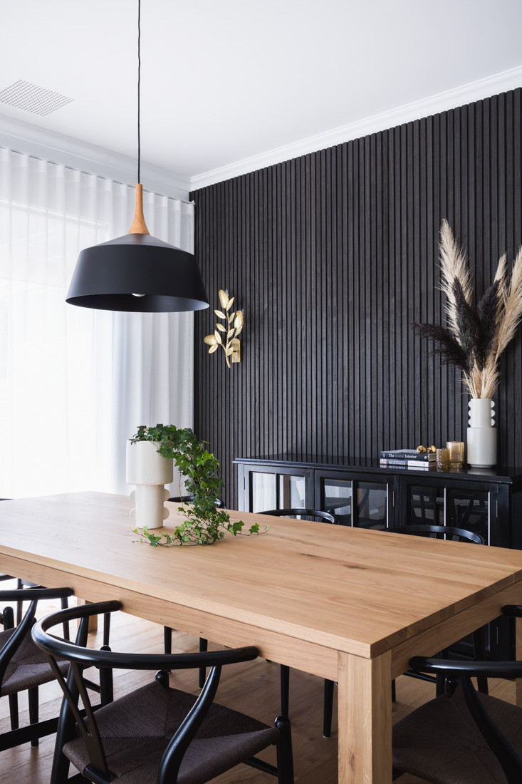 75 Beautiful Wall Paneling Dining Room, Dining Room Wall Covering